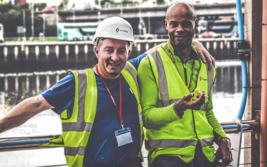 Two Irish construction workers on the site