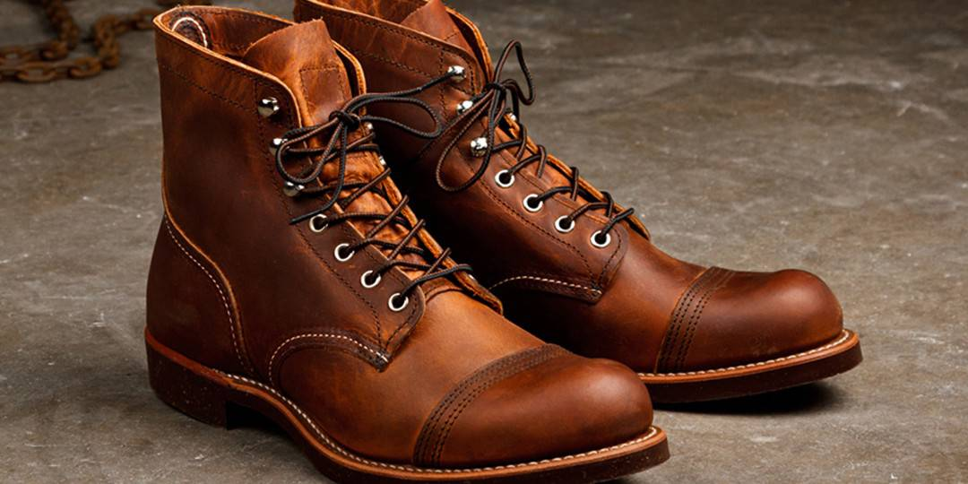 one pair of red wing boots